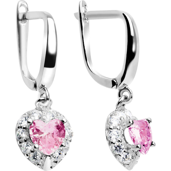 925 Silver CZ Heart October Birthstone Leverback Youth Earrings