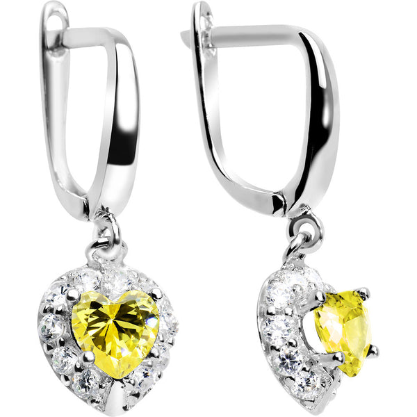 925 Silver CZ Heart November Birthstone Leverback Youth Earrings