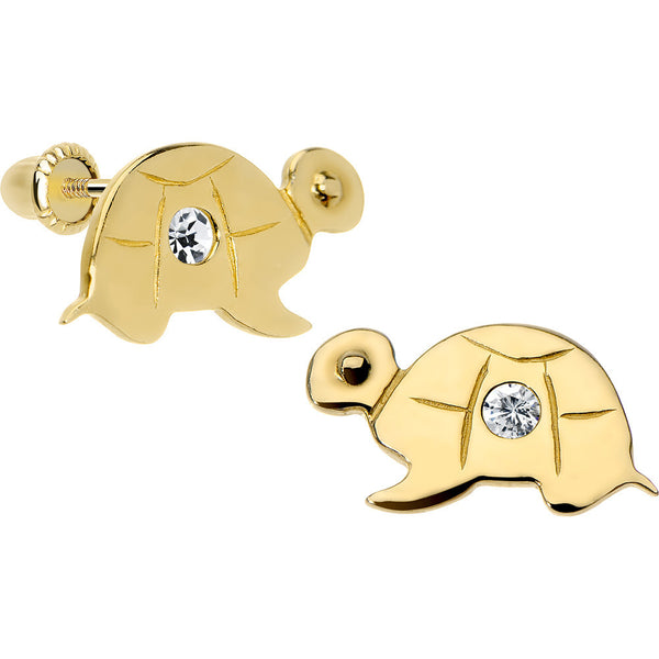 14KT Yellow Gold Baby Turtle CZ Youth Screwback Earrings