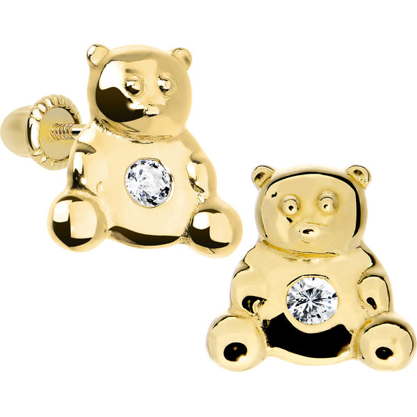 14KT Yellow Gold Baby Bear CZ Youth Screwback Earrings