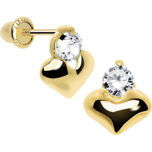 14KT Yellow Gold Heart Clear CZ Youth Screwback Earrings