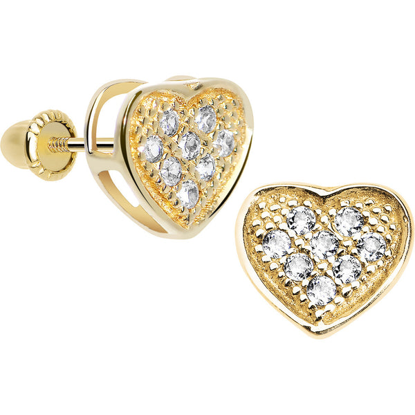14KT Yellow Gold Paved Clear CZ Heart Youth Screwback Earrings