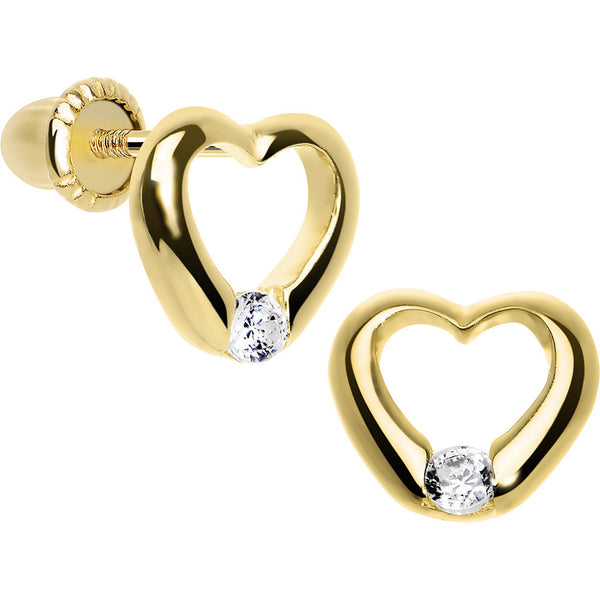 14KT Yellow Gold Hollow Heart CZ Youth Screwback Earrings