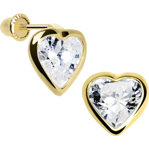 14KT Yellow Gold  CZ Filled Heart Youth Screwback Earrings