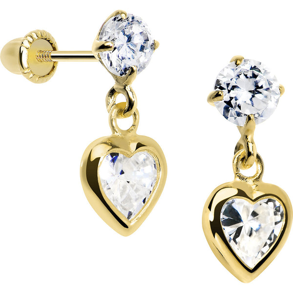 14KT Yellow Gold CZ Filled Heart Dangle Youth Screwback Earrings