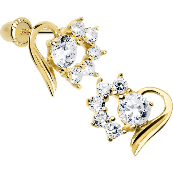 14KT Yellow Gold Open Heart Half CZ Youth Screwback Earrings