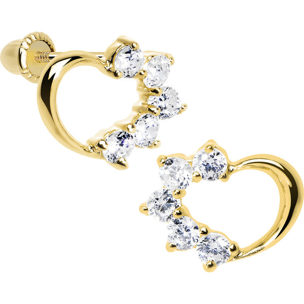14KT Yellow Gold Hollow Heart Half CZ Youth Screwback Earrings