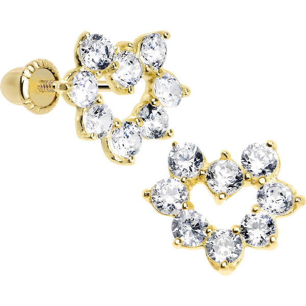 14KT Yellow Gold Full CZ Hollow Heart Youth Screwback Earrings