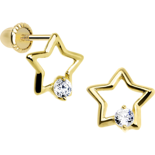 14KT Yellow Gold Hollow Star CZ Youth Screwback Earrings