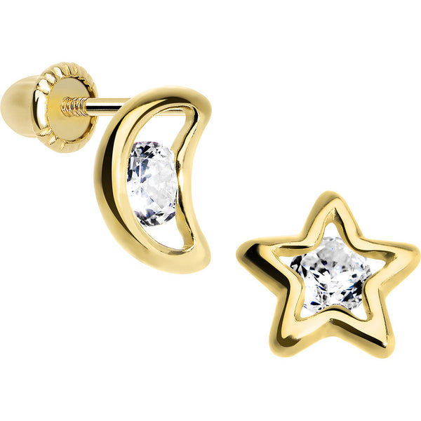 14KT Yellow Gold Hollow Star and Moon CZ Youth Screwback Earrings
