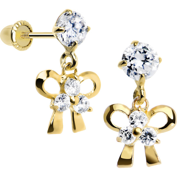 14KT Yellow Gold CZ Bow Dangle Youth Screwback Earrings