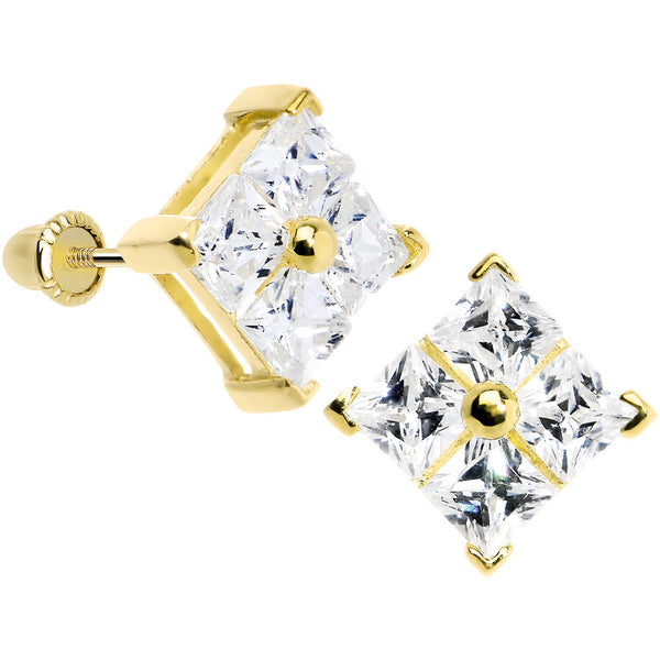 14KT Yellow Gold Clear CZ Square Youth Screwback Earrings
