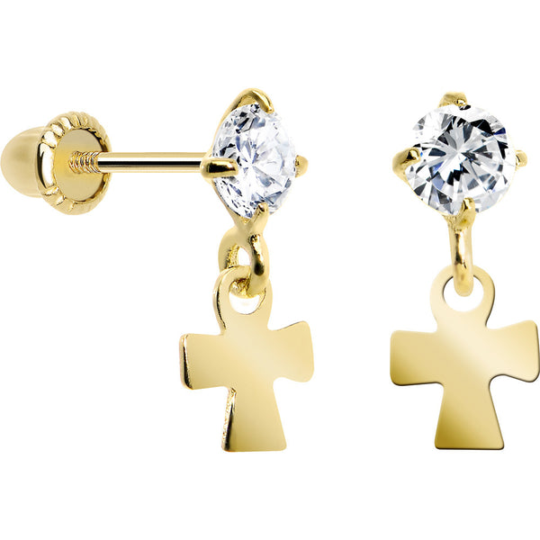 14KT Yellow Gold Round CZ Cross Dangle Youth Earrings