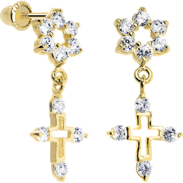 14KT Yellow Gold Clear CZ Flower Cross Dangle Youth Earrings