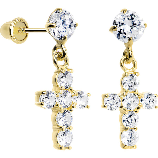 14KT Yellow Gold Clear CZ 8mm Cross Dangle Youth Earrings
