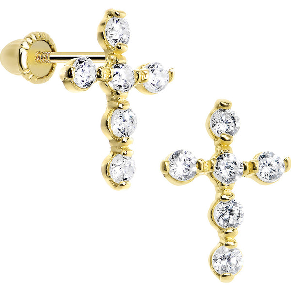 14KT Yellow Gold Clear CZ 10mm Cross Youth Screwback Earrings