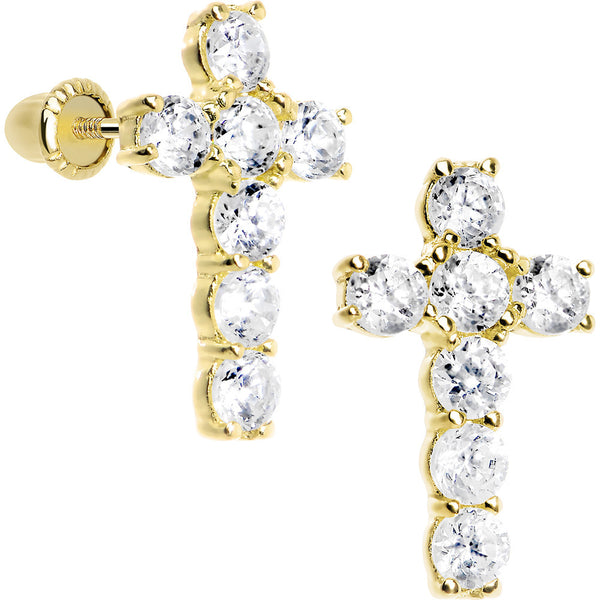 14KT Yellow Gold Clear CZ 11mm Cross Youth Screwback Earrings