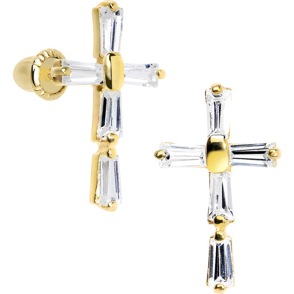 14KT Yellow Gold Clear CZ Bar Set Cross Youth Screwback Earrings