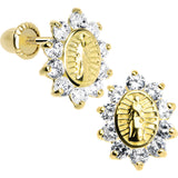 14KT Yellow Gold Clear CZ Lady of Guadalupe Youth Screwback Earrings