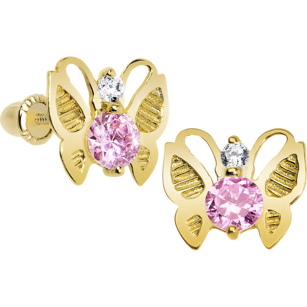 14KT Yellow Gold Butterfly Light Pink CZ Youth Screwback Earrings