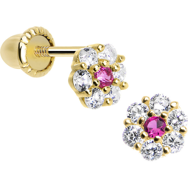 14KT Yellow Gold January Birthstone Flower Youth Screwback Earrings
