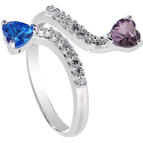 925 Sterling Silver Blue Purple CZ Double Heart Toe Ring