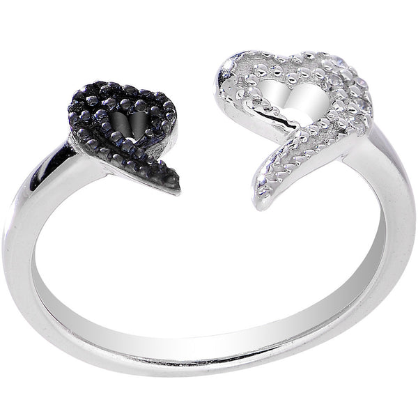 925 Sterling Silver Clear Black CZ Dual Snake Heart Toe Ring
