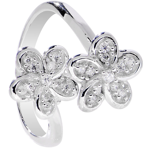 925 Sterling Silver Clear CZ Twin Flower Toe Ring