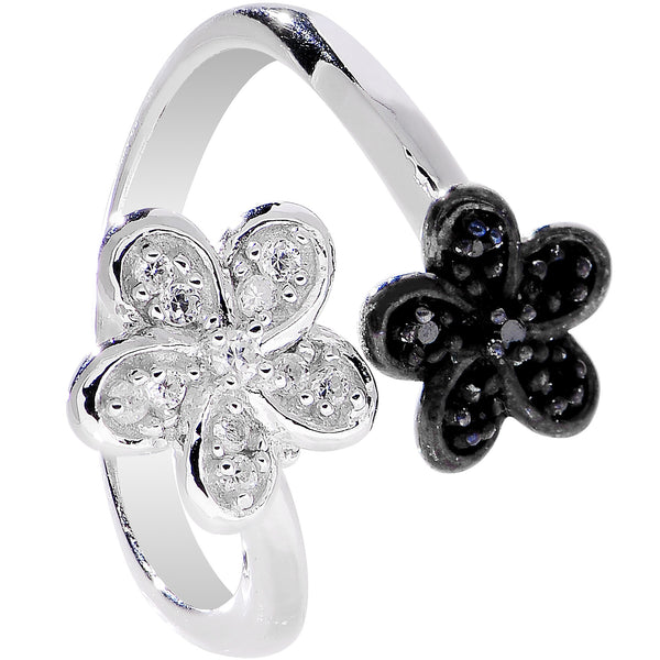 925 Sterling Silver Clear Black CZ Twin Flower Toe Ring