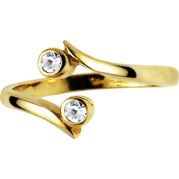 Solid 14kt Yellow Gold .02 Carat Genuine Diamond Toe Ring