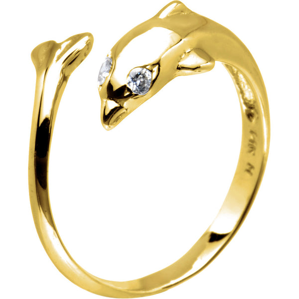 Solid 14kt Yellow Gold .02 Carat Genuine Diamond Dolphin Toe Ring