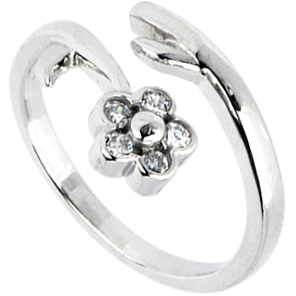 Solid 14kt White Gold .05 Carat Genuine Diamond Flower Toe Ring