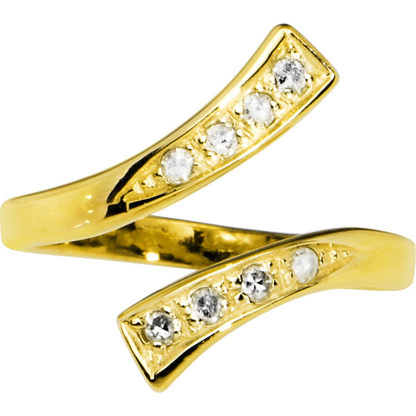 Solid 14kt Yellow Gold .08 Carat Genuine Diamond Paved Toe Ring