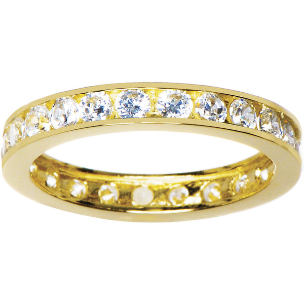 Solid 14kt Yellow Gold Cubic Zirconia Eternity Toe Ring - Size 3