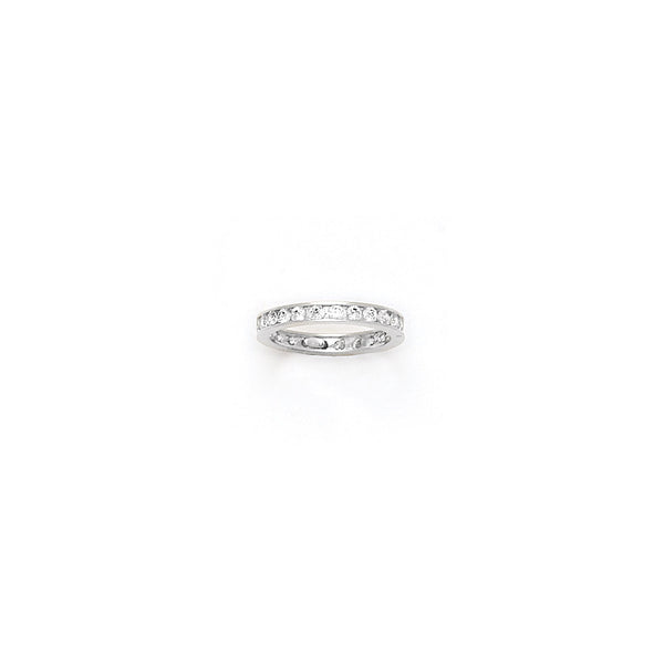 Solid 14kt White Gold Cubic Zirconia Eternity Toe Ring - Size 4