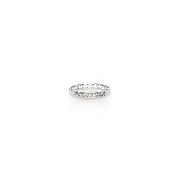 Solid 14kt White Gold Cubic Zirconia Eternity Toe Ring - Size 4.5