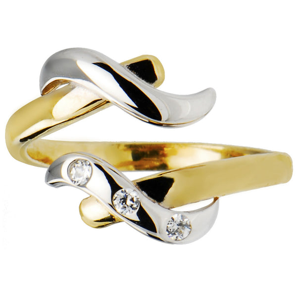 Solid 14kt Yellow White Gold Elegant Cubic Zirconia Toe Ring