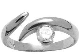 Solid 14kt White Gold Solitaire Cubic Zirconia Toe Ring