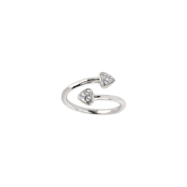 Solid 14kt White Gold Double Gem Heart Cubic Zirconia Toe Ring