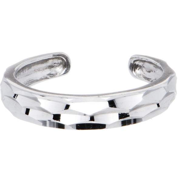 Solid 14kt White Gold Diamond Cut Band Toe Ring