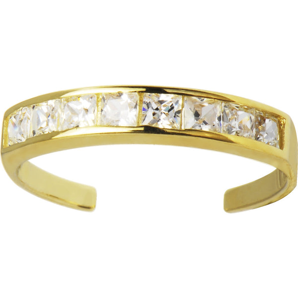 Solid 14kt Yellow Gold Square Cubic Zirconia Toe Ring