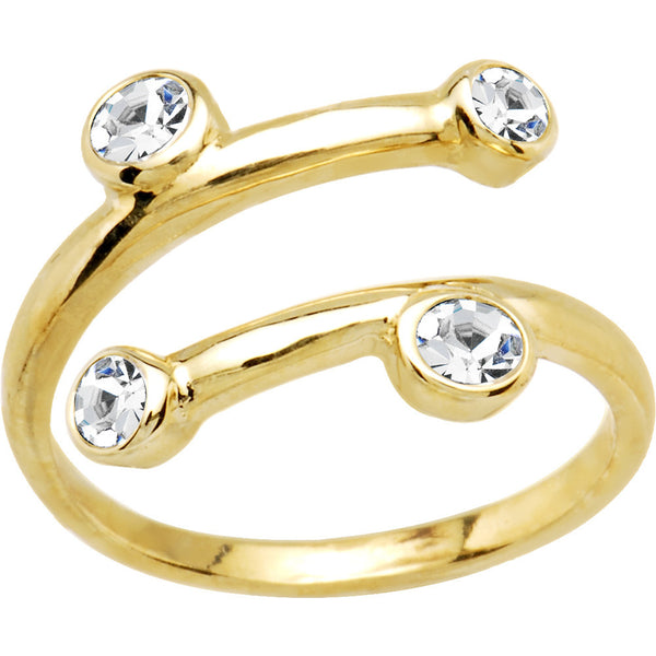 Solid 14kt Yellow Gold Cubic Zirconia Spiral Toe Ring