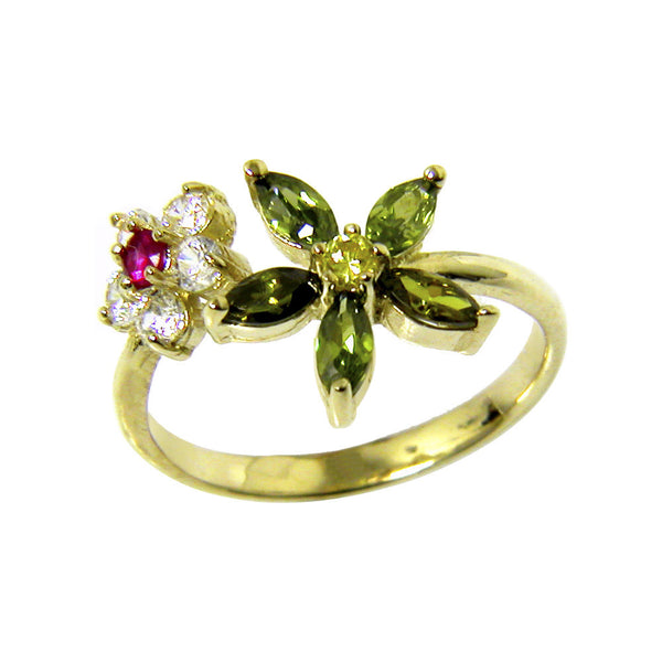 Solid 14kt Yellow Gold Cubic Zirconia Flower Petals Toe Ring