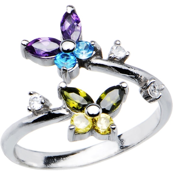 Solid 14kt White Gold Cubic Zirconia Butterfly Toe Ring