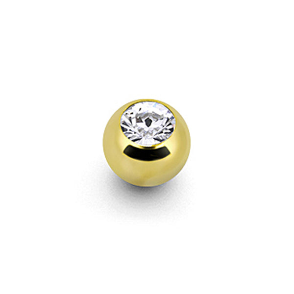 Solid 14KT Yellow Gold CZ Replacement Ball 3mm - 16 Gauge