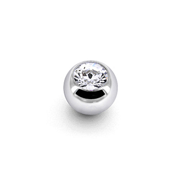 Solid 14KT White Gold CZ Replacement Ball 3mm - 16 Gauge