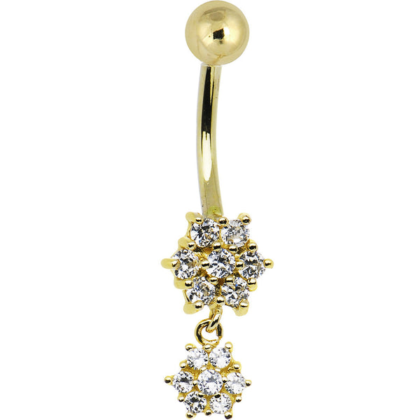 Solid 14kt Yellow Gold Cubic Zirconia Dangle Flower Belly Ring