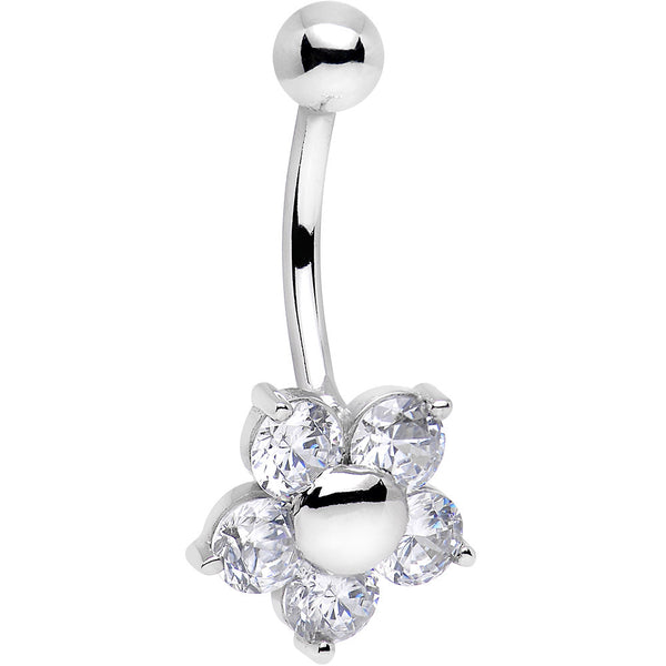 Solid 14kt White Gold Cubic Zirconia Five Petal Flower Belly Ring