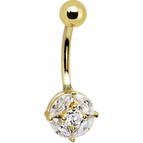 Solid 14kt Yellow Gold Cubic Zirconia Regal Belly Ring