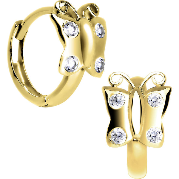 14kt Yellow Gold CZ Butterfly Huggy Earrings